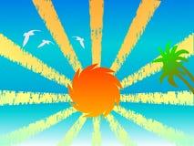 Coucher du soleil, paumes et oiseaux Photos stock