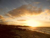 Coucher du soleil, Pebble Beach, la Californie Photos stock