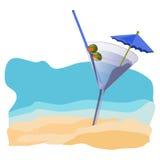 Coucher du soleil, plage, été, mer, le soleil, sable, cocktail Photographie stock libre de droits