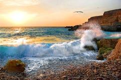 Coucher du soleil, plage Photographie stock libre de droits