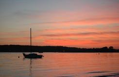 Coucher du soleil, plage de Niles Image libre de droits