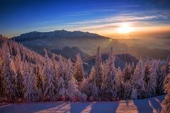 Coucher du soleil Poiana Brasov Images libres de droits