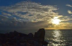 Coucher du soleil Portland Bill Dorset Image stock