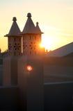 Coucher du soleil portugais de dessus de toit photographie stock libre de droits