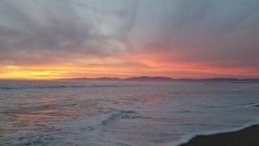Coucher du soleil pourpre rouge-rose jaune avec les oiseaux 4k banque de vidéos