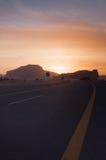 Coucher du soleil près d'Al-Ula dans les déserts de l'Arabie Saoudite photographie stock