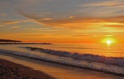 Coucher du soleil, Redondo Beach, Los Angeles, la Californie photographie stock