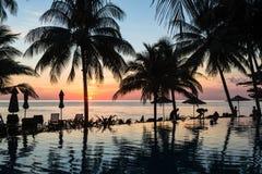 Coucher du soleil renversant en Koh Chang Photos libres de droits