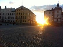 Coucher du soleil Ridderholmen Stockholm Photos stock