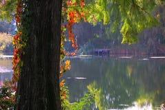 Coucher du soleil rocheux de lac Photographie stock libre de droits
