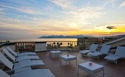 Coucher du soleil romantique en Côte d'Azur Photographie stock libre de droits