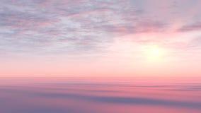 Coucher du soleil rose au-dessus des ondes molles Photographie stock