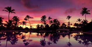Coucher du soleil rose de Pnorama et rouge bleu au-dessus de plage de mer Images libres de droits