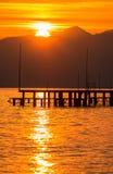 Coucher du soleil rouge à Antalya. Photographie stock