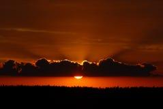 Coucher du soleil rouge Photo libre de droits