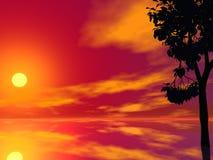 Coucher du soleil rouge d'arbre Photographie stock