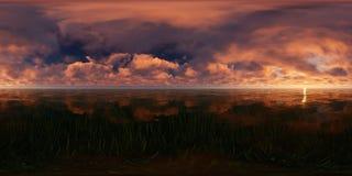 Coucher du soleil rouge dans un lac Images libres de droits