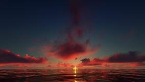 Coucher du soleil rouge foncé en mer Photos libres de droits