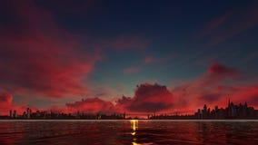 Coucher du soleil rouge foncé sur une ville de gratte-ciel Photos libres de droits