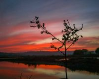 Coucher du soleil rouge superbe Le feu dans le ciel image stock