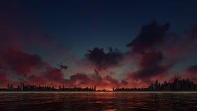 Coucher du soleil rouge sur une ville de gratte-ciel Image stock