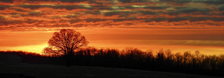 Coucher du soleil rural Photographie stock