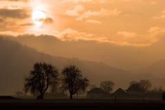 coucher du soleil rural Image stock