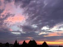 Coucher du soleil rural de ranch de pays de vin avec des arbres et des nuages Photographie stock libre de droits