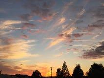 Coucher du soleil rural de ranch de pays de vin avec des arbres et des nuages Image stock