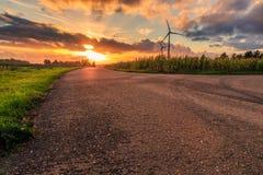 Coucher du soleil rural de route Image stock