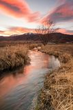 Coucher du soleil rural, Utah, Etats-Unis Photos stock
