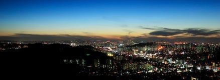Coucher du soleil, Séoul Image stock