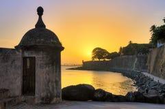 Coucher du soleil San Juan de sentinelle Image libre de droits
