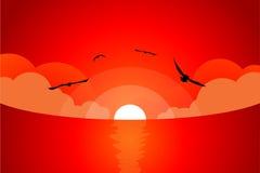 Coucher du soleil sanglant Images libres de droits