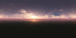 Coucher du soleil sans couture de panorama de 360 cieux illustration stock