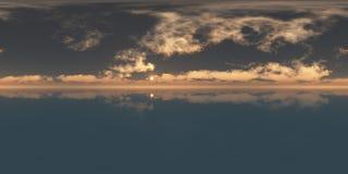 Coucher du soleil sans couture de panorama de 360 cieux illustration libre de droits