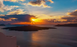 Coucher du soleil Santorini Images stock