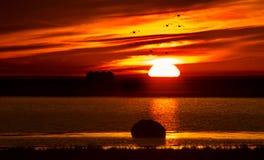 Coucher du soleil Saskatchewan rurale Photos stock