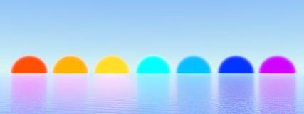 Couchers du soleil comme chakras - 3D rendent Image libre de droits