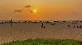 Coucher du soleil shoted de la plage d'Alappuzha images libres de droits