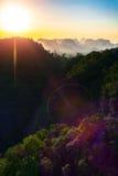 Coucher du soleil, silhouette, montagnes, jungle Image stock