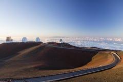 Coucher du soleil spectaculaire de kea de mauna - Hawaï photos stock