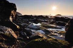 Coucher du soleil, St Agnès, les Cornouailles Photo stock