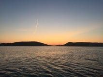 Coucher du soleil suédois de côte ouest Images libres de droits