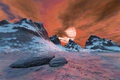 Coucher du soleil supérieur de montagne Images libres de droits