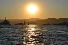 Coucher du soleil sur Cote d'Azur Image stock