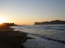 Coucher du soleil sur Crète Image libre de droits