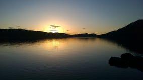 Coucher du soleil sur des îles de Pender Image libre de droits