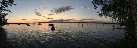 Coucher du soleil sur des dunes de sable de Silver Lake panoramiques Photographie stock libre de droits