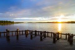 Coucher du soleil sur l'étang Image libre de droits